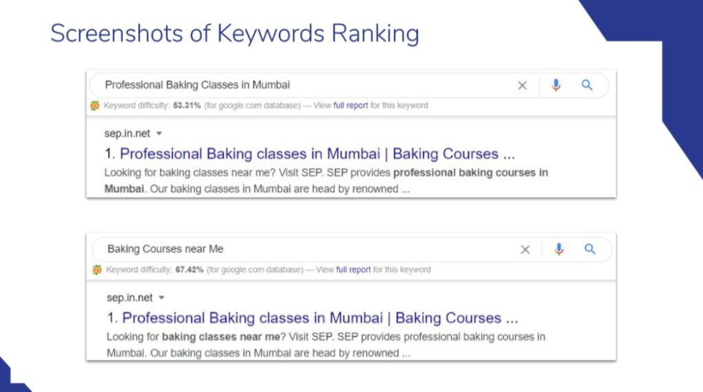 Picture of SC of School for European Pastry SEO Ranking
