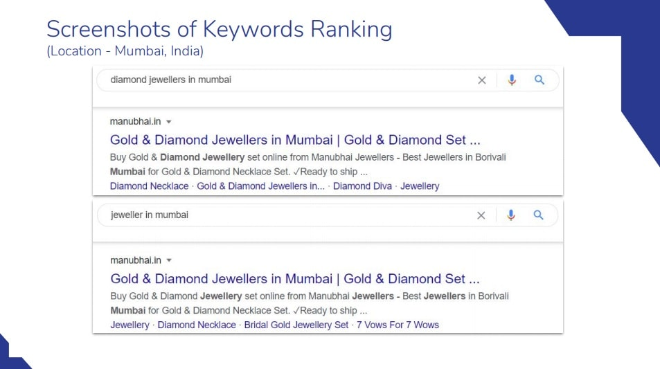 Picture of SC of Manubhai Jewellers SEO Ranking